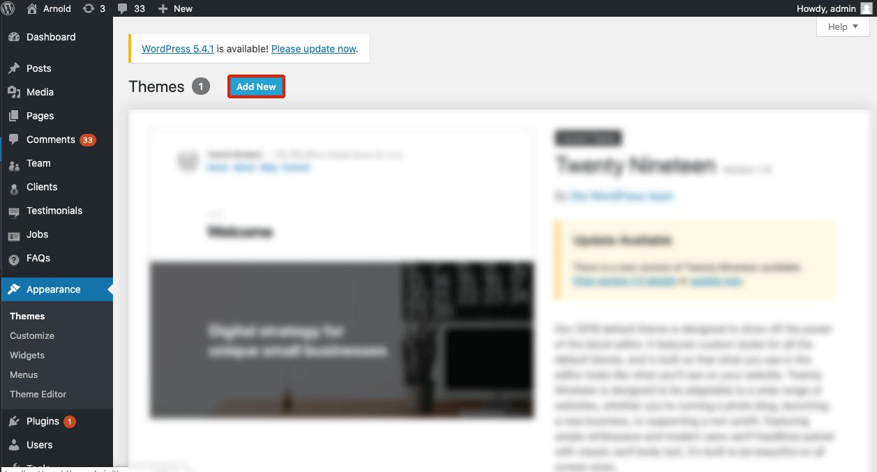 Install WordPress theme - add new